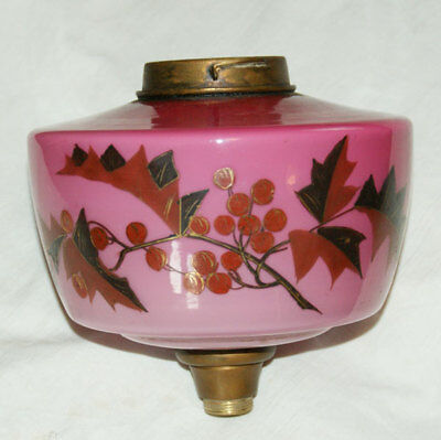 Antique Hand Painted 'LEAVES & BERRIES' Oil Lamp Pink Glass Font, A/F