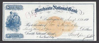 "1870 Burlington Vermont Bank Draft ""Maid"" RN-C1"