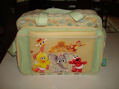 Rare Clean 2009 Sesame Street Beginnings Big Bird Elmo Baby Bottle Diaper Bag