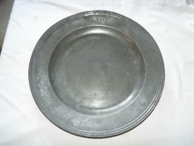 "Antique Georgian 16.5"" pewter charger with triple reeded rim & touchmarks"