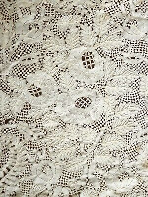 small 18 cms square panel Antique hand made lace Honiton ? flowers & foliage
