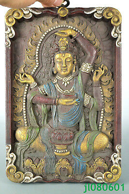decorate Old Wood Carved kwan-yin buddha Totem Relievo Statue Plate big