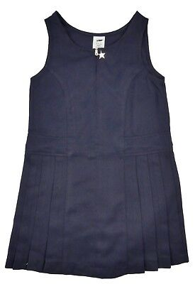 Girls School Pinafore Dress Navy Charm Zip Up Front Pleated Skirt With Panel