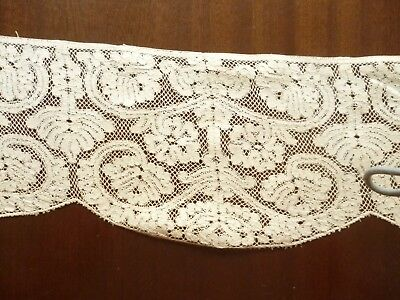 Piece antique hand made lace 104 cms x 15 cms exact age & origin unknown