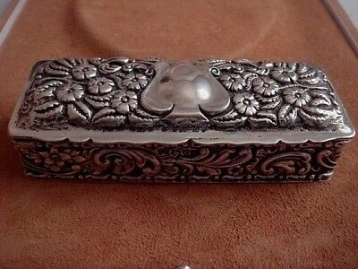 Art Nouveau Solid Sterling Silver Hallmark Chester 1901 Trinket Table Snuff Box