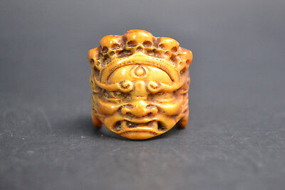 fine Collectible Old resin horn handwork carve Buddha rare Skull Ring wonder