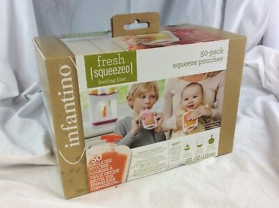 BNIB Infantino Fresh Squeezed Squeeze Single Use Pouches Pack of 50 x 4 Fl. Oz.