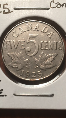 Key Date 1925 Canada Five Cents Nickel