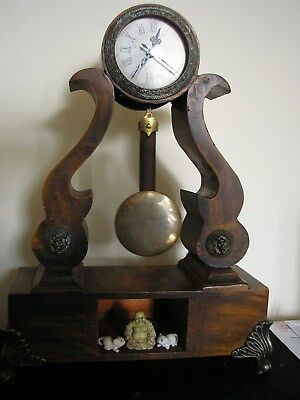 ANTIQUE DRUMHEAD BRACKET CLOCK CASE CONVERTED TO QUARTZ see description