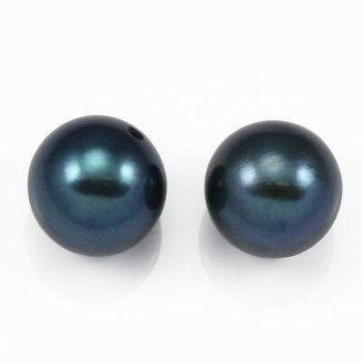2x Peacock Blue Half-drilled Round Freshwater Pearls AAA for Jewellery Making
