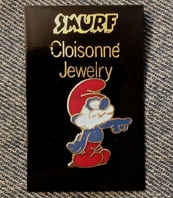 Smurf Brooch Pin by Peyo~Papa Smurf with Card~Vintage 1980~Cloisonne Jewelry