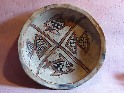 Plat Berbere Antique Islamic Terre Cuite Pottery Kabyle Iddeqi Art Populaire