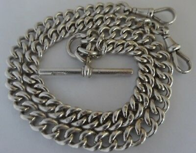 1905 Sterling Silver Hallmark Double Albert Pocket Watch Chain / T Bar Necklace