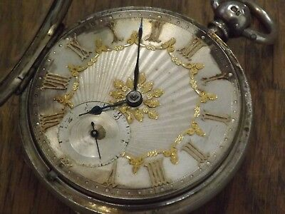 Superb Large Antique Silver Dial Gold Numerals  Gents  Fusee Pocket Watch