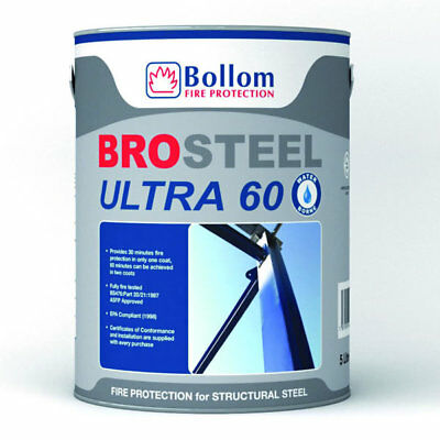 Bollom Brosteel Ultra 60 Fire Resistant Paint For Structural Steel White 5L