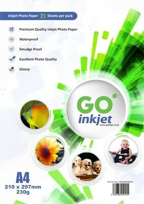 20 Sheets Photo Paper A4 Glossy 230gsm for Inkjet Printers by GO Inkjet