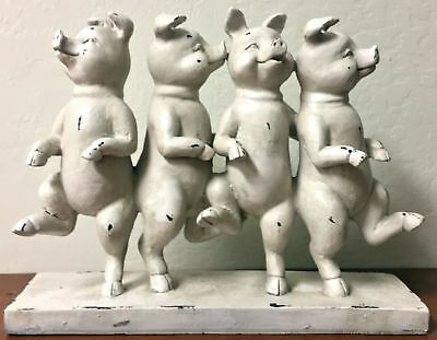 Four Pigs Dancing Table Top Figurine Vintage Aged White Antique Look Decoration