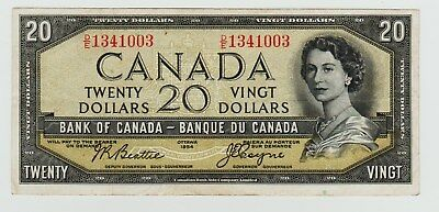 1954 Canada 20 Dollar Note - Devil's Face