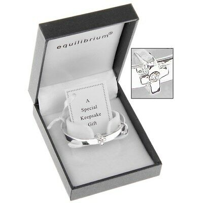 Equilibrium Silver Plated Cross Detail Baby Bangle Christening Gift  6780 (E5)