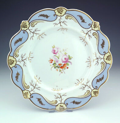 Antique English Porcelain Hand Painted Flower Decorated Cabinet Plate - Early!