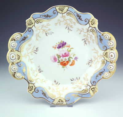 Antique English Porcelain Hand Painted Flower Decorated Cake Plate - Early!