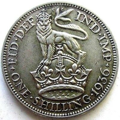 Great Britain Uk Coins, One Shilling 1936, George V, Silver 0.500