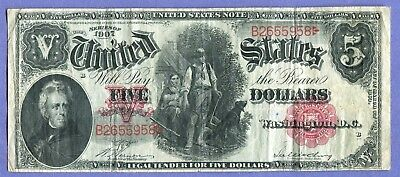 Docs Hard to Find $5.00 Woodchopper Note Series of 1907 Beauty! Free Shipping!