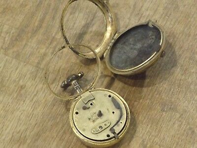 Antique Gilt Pair Cased Fusee Verge Pocket Watch Cases Empty