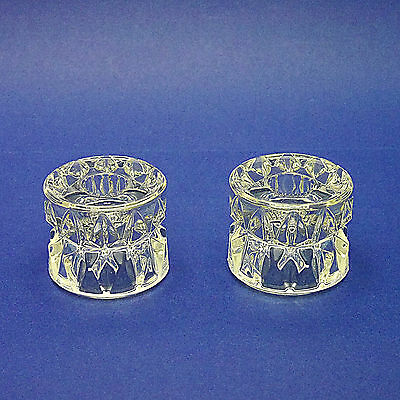 """Two Reversible Crystal Glass Candle/Tealight Holders - 6cm/2.3"""" High"""