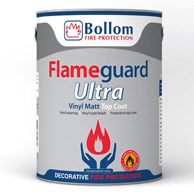 Bollom Flameguard Ultra Top Coat Vinyl Matt Fire Resistant Paint White 5L