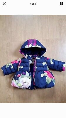 Ted Baker Baby Girls Coat 0-3 Months 3-6 Months Blue Rose VGC Lovely Warm