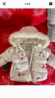 Next Baby Girls Woodland Coat Age 9-12 12-18 Months Fleece Lined Lovely On VGC