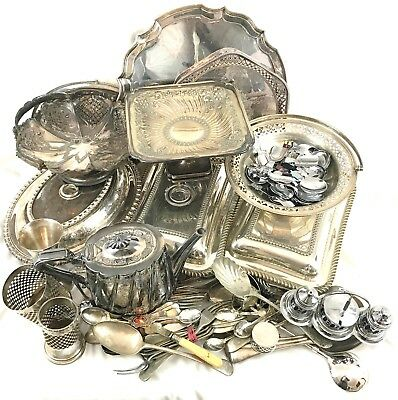 JOB LOT of Antique Vintage Silver Plated Items, Trays, Baskets, Tureens, Cutlery