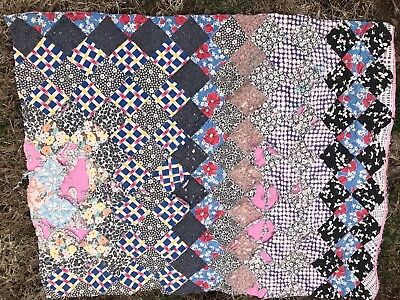 Vintage Hand Quilted Well Loved Trip Around The World Cutter Quilt Piece