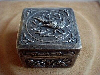 1St Early Antique Export Solid Silver Chinese Hallmarked Snuff Box Birds Flowers
