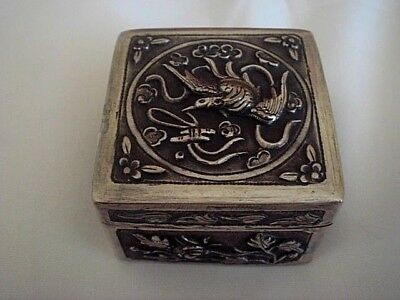 2Nd Early Antique Export Solid Silver Chinese Hallmarked Snuff Box Birds Flowers