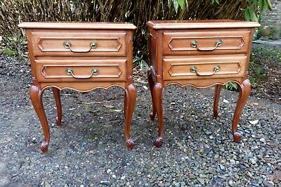 Gorgeous Pair Vintage French Cherry Wood Bedside Cabinets / Tables with Drawers