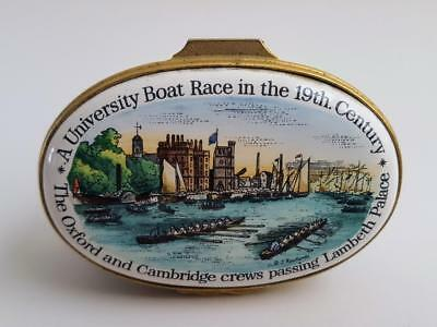 Halcyon Days Bilston Enamel UNIVERSITY BOAT RACE  Oxford Cambridge Trinket Box