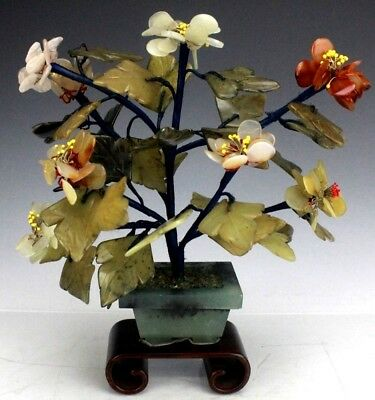 Vtg Chinese Export Hand Carved Carnelian Onyx Jade Stone Bonsai Plant Sculpture
