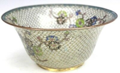 """6 5/8"""" Chinese Export Translucent Enamel Brass Round Footed Candy Nut Dish Bowl"""