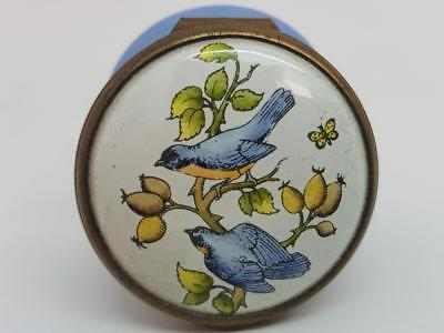 Boxed Halcyon Days Bilston & Battersea Enamel Bird Study Trinket Box