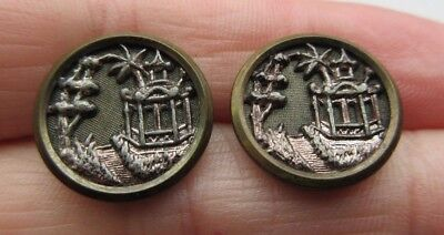 Nice Lot of 2 Matching Antique Victorian Metal Picture BUTTONS Pagoda (S10)