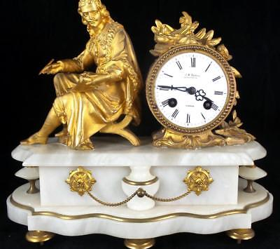 Antique French 19th c Figural gilt & white marble 8 day Mantle Clock by Marti