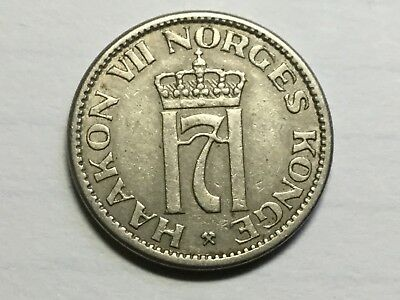 NORWAY 1953 50 Ore coin nice condition