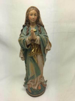 Vintage Italian Lepi Style Polychrome Carved Wooden Figure Of Mary
