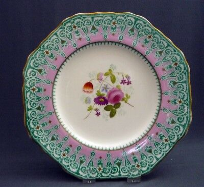 """#8 Antique c1851 -67 Copeland Spode Hand Painted 9"""" Plate Pink Gold Flowers"""