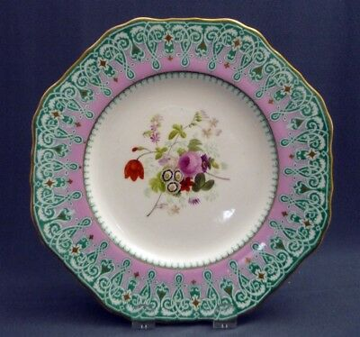 """#7 Antique c1851 -67 Copeland Spode Hand Painted 9"""" Plate Pink Gold Flowers"""