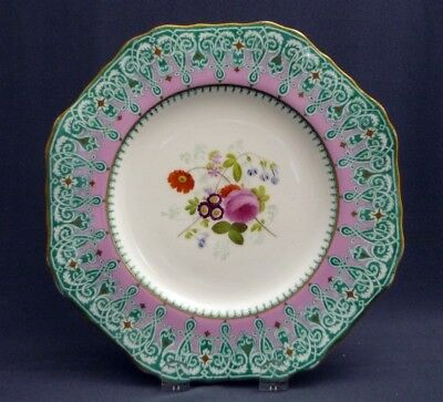 """#2 Antique c1851 -67 Copeland Spode Hand Painted 9"""" Plate Pink Gold Flowers"""