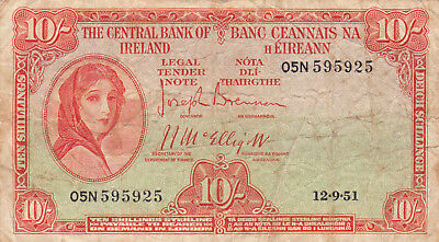 10 Shillings Vg Banknote From Ireland 1951!pick-63!rare!