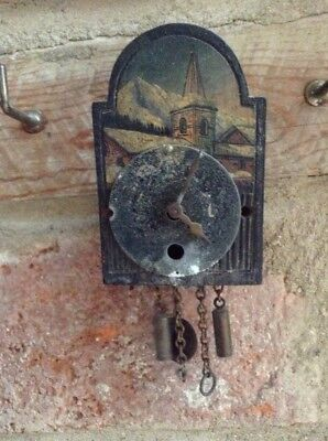 Antique Miniature Swiss Or German Black Forest Wall Clock